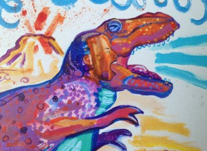 A birthday card with a boy inside a roaring T-Rex